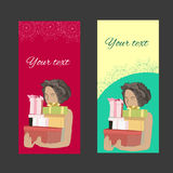 Card with gifts. Girl with gifts. The invitation to the feast. The card with the girl. Card with gifts Royalty Free Stock Photo