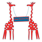 Card with giraffes on Valentine`s Day. Stock Photo