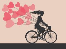 Card with girl on bike Royalty Free Stock Images