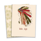 Card, girl in a headdress Indians Stock Photo
