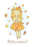 Card with girl. Postcard with cute cartoon  girl in  beautiful dress and bunny. Autumn season. Falling leaves. Children's illustration. Vector image Stock Photography
