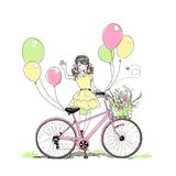 Card with girl riding a bike. Summer or spring time, cute elegant blonde girl riding a bike with floral baskets and singing, nice romantic vector postcard. Free stock illustration