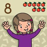 Girl showing eight by hand Counting education card. Card 8. Girl in sweater on olive background. Kid`s hands showing the number eight hand sign. Childrens vector Stock Photo