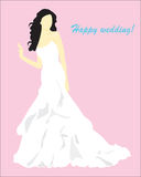 A card with the girl in a wedding dress Stock Image