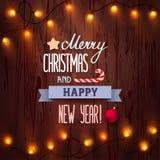 Card glad jul och det lyckliga nya året Fotografering för Bildbyråer