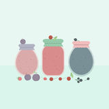 Card with glass jars of jam. Vector illustration Stock Image