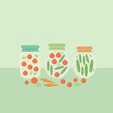 Card with glass jars preserves. Vector illustration Royalty Free Stock Photo