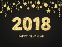 2018 card with glitter typography design. Golden sparkling numbers. Golden glitter border, garland with hanging balls Royalty Free Stock Photography