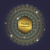 Card with glow mandala. Vector background. Geometric circle element. Islam, Arabic, Indian, turkish, chinese, ottoman motifs Royalty Free Stock Images