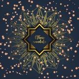 Card with glow mandala. Vector background. Geometric circle element. Islam, Arabic, Indian, turkish, chinese, ottoman motifs Stock Image