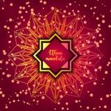 Card with glow mandala. Vector background. Geometric circle element. Islam, Arabic, Indian, turkish, chinese, ottoman motifs. Card with glow mandala. Vector Royalty Free Stock Image