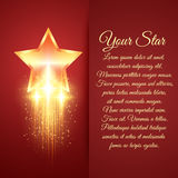 Card with glowing golden star Royalty Free Stock Image