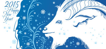 2015 Card with goat. Happy New Year 2015! Card with goat.  Vector Illustration Stock Photos