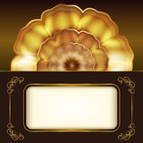 Card with gold flower. Stock Image