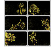 Card with gold flowers. Black card with gold flowers stock illustration