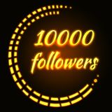 Card with gold neon text 10000 followers. Thanks design temlete for network friends Stock Photo