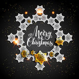 Card with gold snowflakes on black background Stock Photos