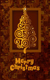 Card with golden Christmas tree Royalty Free Stock Images