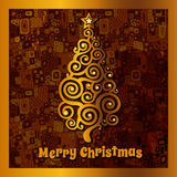 Card with golden Christmas tree Stock Photo