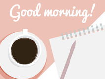 Card Good Morning. Card with cup of coffee, pencil, notebook and text Good morning Royalty Free Stock Photos