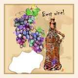 Card with grapes, wine on hand-drawing style Royalty Free Stock Photo