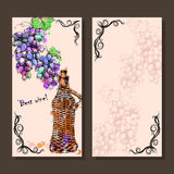 Card with grapes, wine on hand-drawing style Royalty Free Stock Image