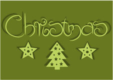 Card with green background for christmas time Royalty Free Stock Image