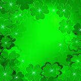 Green background with clover for St. Patrick`s day. Card green background with clover for St. Patrick`s day symbol of good luck Stock Images