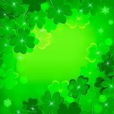 Green background with clover for St. Patrick`s day. Card green background with clover for St. Patrick`s day symbol of good luck Stock Photo