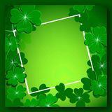 Green background with clover for St. Patrick`s day. Card green background with clover for St. Patrick`s day symbol of good luck Royalty Free Stock Photography