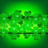 Green background with clover for St. Patrick`s day. Card green background with clover for St. Patrick`s day symbol of good luck Royalty Free Stock Image