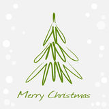 Card with green christmas tree. Card with hand drawn christmas tree Royalty Free Stock Images