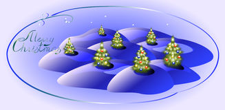Card with green Christmas trees. Christmas greeting. EPS10  illustration Stock Photos