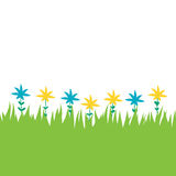 Card with green grass and flowers Royalty Free Stock Image