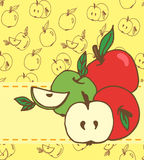 Card with green and red apples Stock Photo