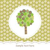 Card with green tree Royalty Free Stock Photography