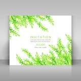 Card with green watercolor grass. Stock Photos