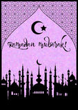 Card for greeting with beginning of fasting month of Ramadan Royalty Free Stock Images