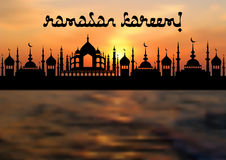Card for greeting with beginning of fasting month of Ramadan Royalty Free Stock Photos
