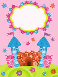 Card greeting with cartoon castle. Greeting card with fairy castle Vector Illustration