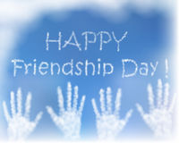 Card with greeting for celebration of friendship day.. The hands made of blue sky. Creative design Stock Images