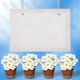 Card for greeting or congratulation. With garland of flower Stock Images