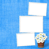 Card for greeting  with garland of flower Stock Photos