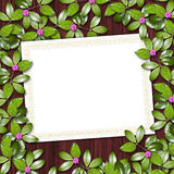 Card for greeting or invitation. On the abstract background with ivy's leaves Stock Image