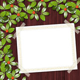 Card for greeting or invitation. On the abstract background with ivy's leaves Royalty Free Stock Photos