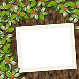 Card for greeting or invitation. On the abstract background with ivy's leaves Royalty Free Stock Images