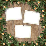 Card for greeting or invitation. On the abstract background with ivy's leaves Stock Images