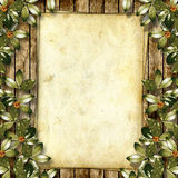 Card for greeting or invitation. On the abstract background with ivy's leaves Royalty Free Stock Photography