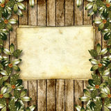 Card for greeting or invitation. On the abstract background with ivy's leaves Royalty Free Stock Photo