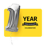 Card greeting template with black logo text and inflatable balloon. First year life, happy birthday, congratulations Stock Photography